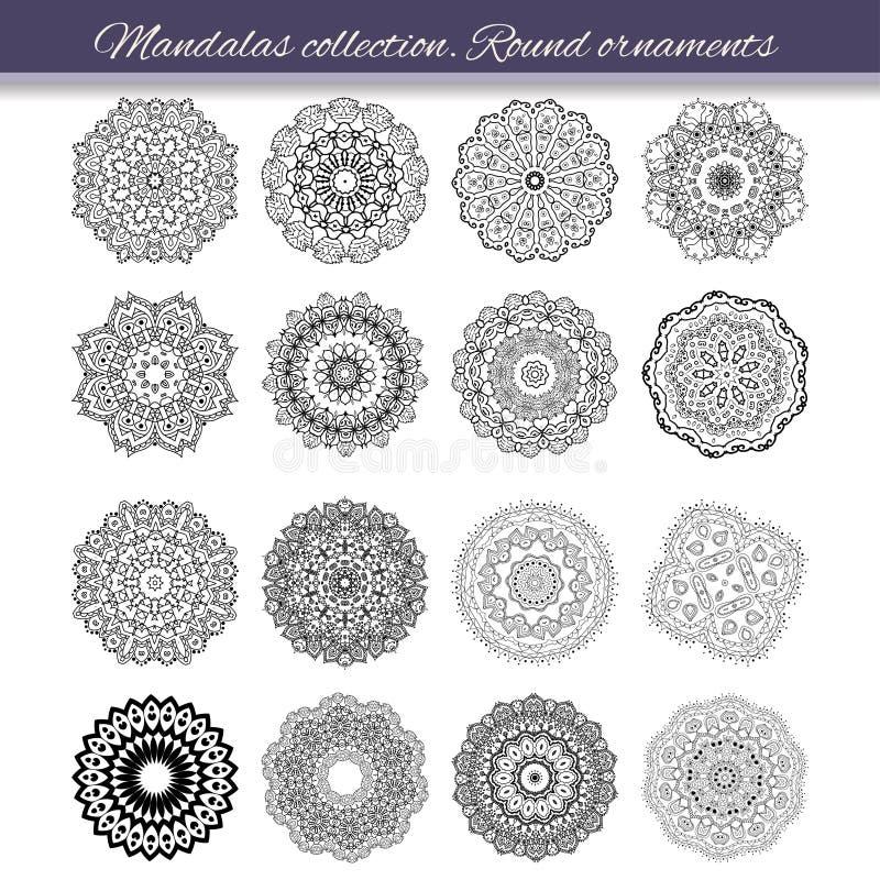 Ensemble d'élément abstrait de conception Mandalas ronds dans le vecteur Calibre graphique pour votre conception Rétro ornement d illustration libre de droits