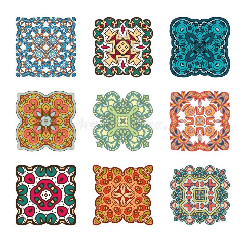 Ensemble d'élément abstrait de conception Mandalas ronds dans le vecteur Calibre graphique pour votre conception Rétro ornement d illustration de vecteur