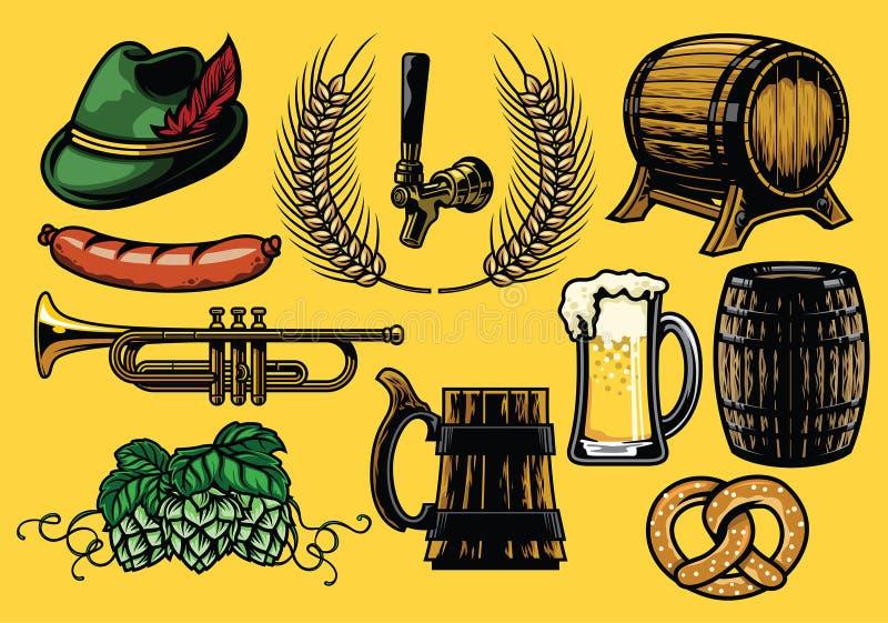 Ensemble d'élément de bière dans la version de couleur illustration libre de droits