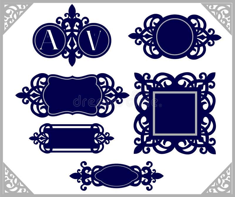 Ensemble d'élément de conception Emblème de cru Calibre décoratif de cadre Coupe de laser de monogramme de mariage illustration de vecteur