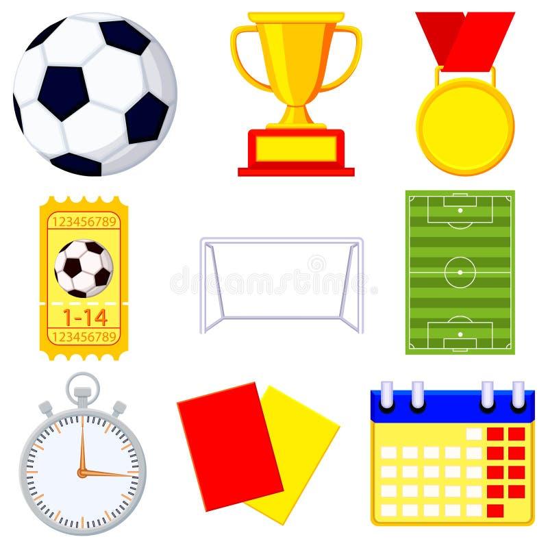 Ensemble d'élément de l'icône 9 de bande dessinée de partie de football du football illustration stock