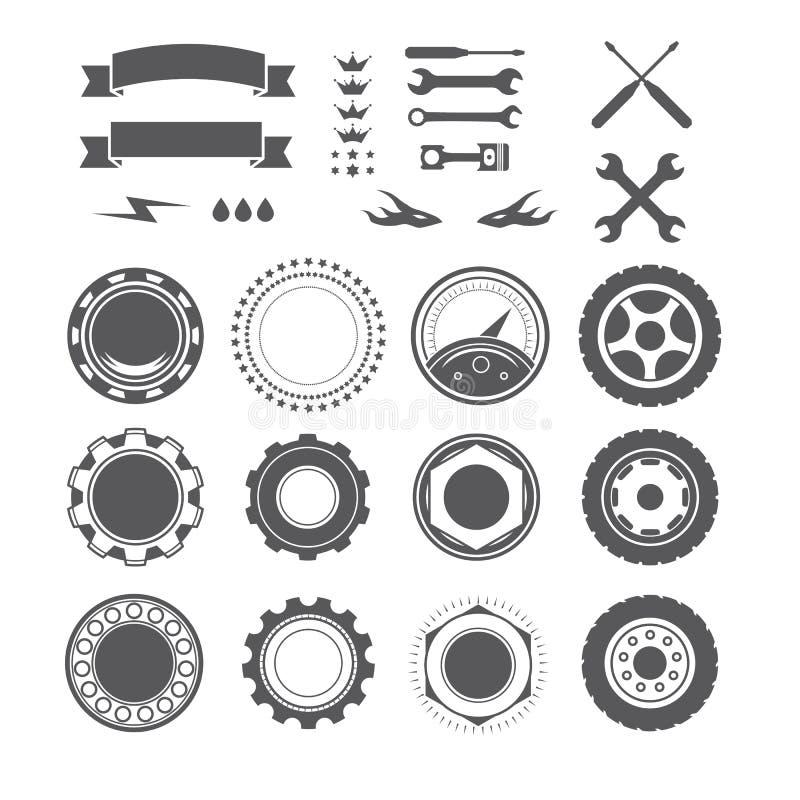 Ensemble d'élément de logotype pour le mécanicien, garage, réparation de voiture, service illustration libre de droits