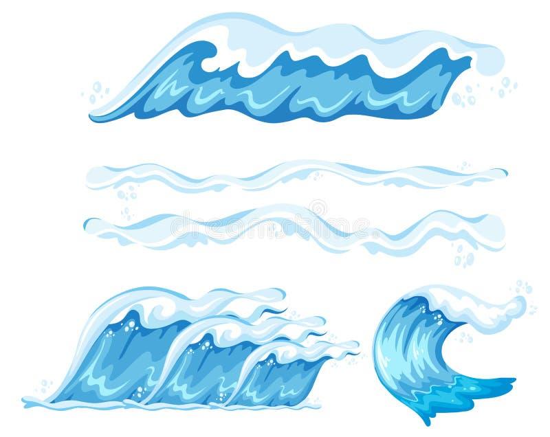 Ensemble d'élément de vague illustration stock