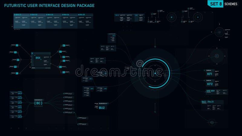 Ensemble d'élément futuriste de design de l'interface d'utilisateur 08