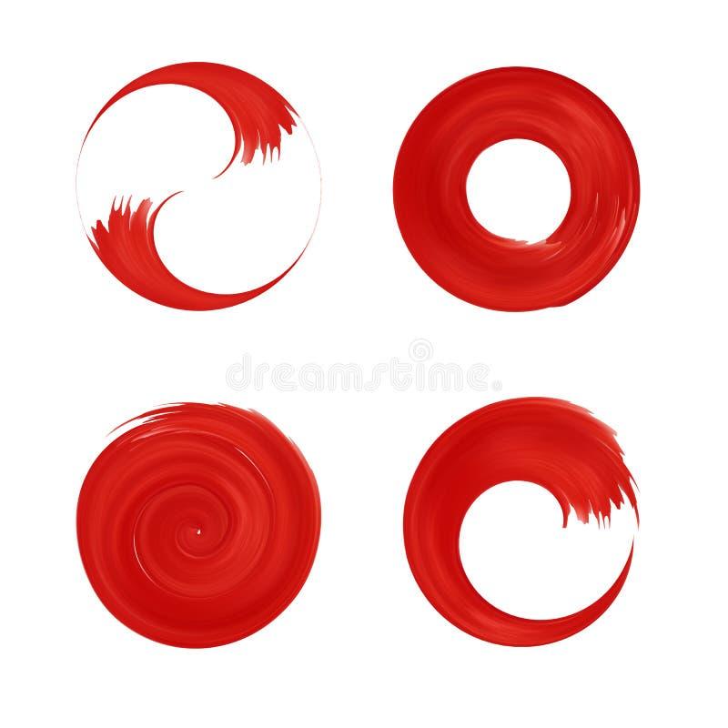 Ensemble d'élément rond rouge pour la conception illustration de vecteur