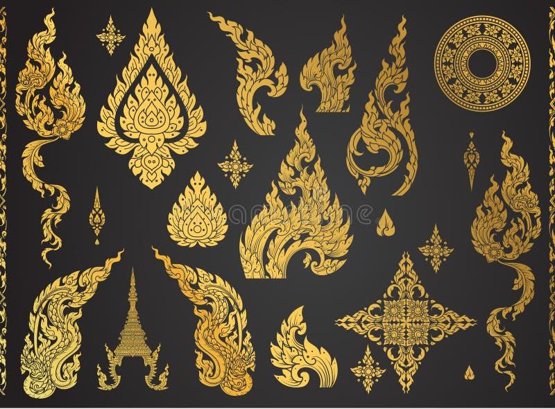 Ensemble d'élément thaïlandais d'art, motifs décoratifs Art ethnique illustration stock
