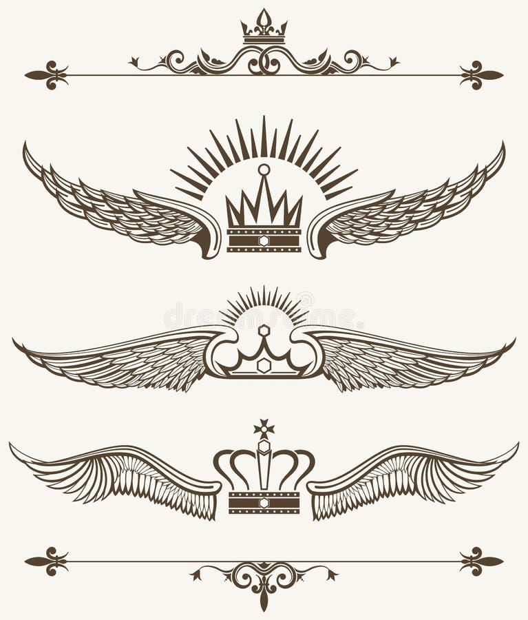 Ensemble d'éléments à ailes royaux de conception de couronnes illustration libre de droits
