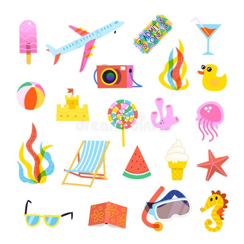 Ensemble d'éléments d'été pour le voyage, la plage, ou les affiches de partie illustration stock