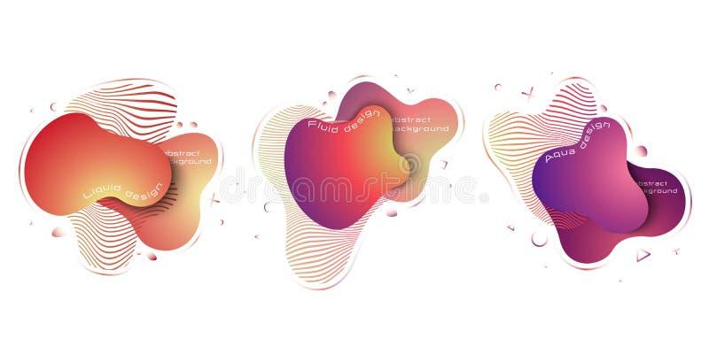 Ensemble d'éléments abstrait liquide, éléments colorés dynamiques à la mode modernes abr?gez le fond ENV 10, vecteur illustration de vecteur