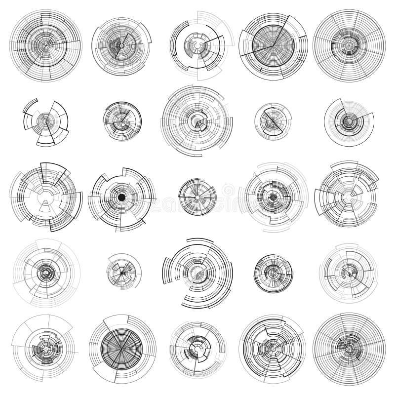 Ensemble d'éléments abstraits de hud d'isolement sur le fond blanc Conception de pointe de mouvement, interfaces rondes, systèmes illustration stock