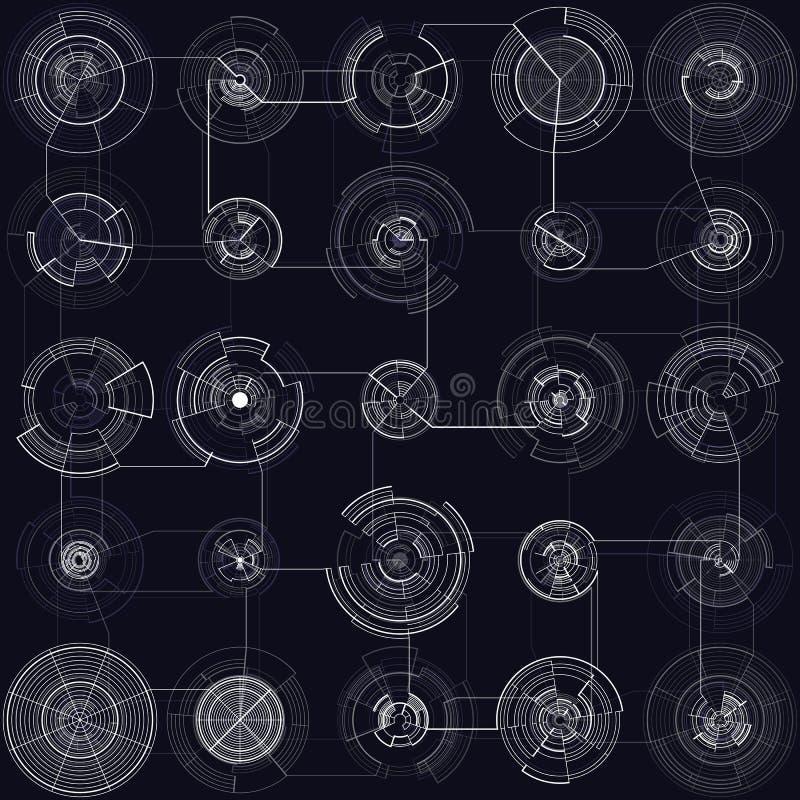 Ensemble d'éléments abstraits de hud sur le fond noir Conception de pointe de mouvement, interfaces rondes, systèmes se reliants illustration libre de droits