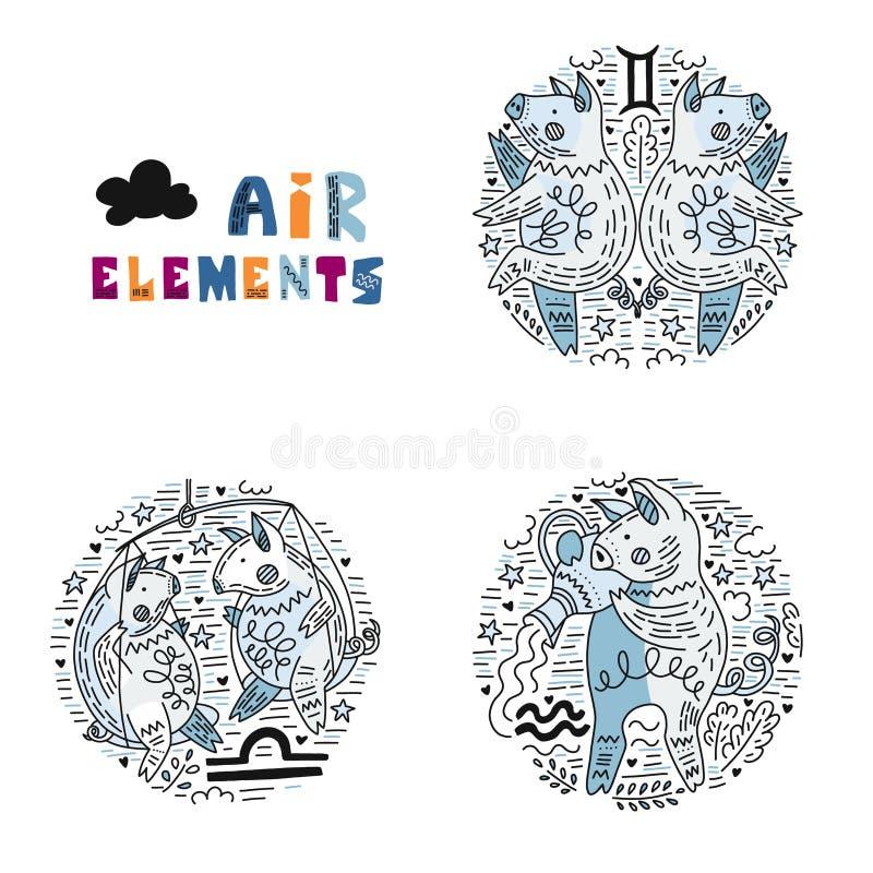 Ensemble d'éléments d'air de zodiaque illustration stock