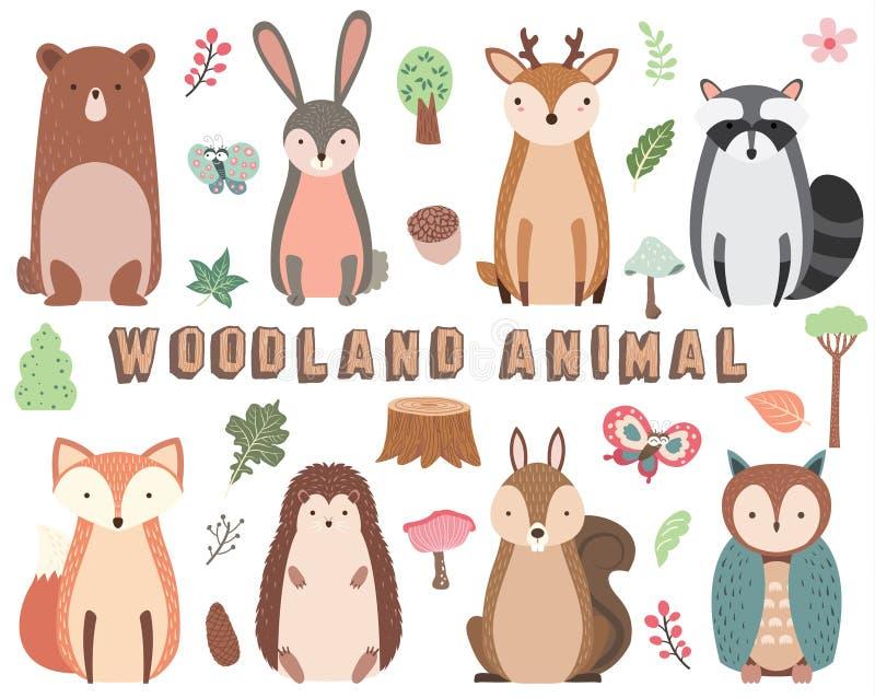 Ensemble d'éléments animal de région boisée illustration de vecteur