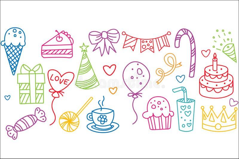 Ensemble d'éléments d'anniversaire, illustration tirée par la main de vecteur de symboles de partie illustration stock