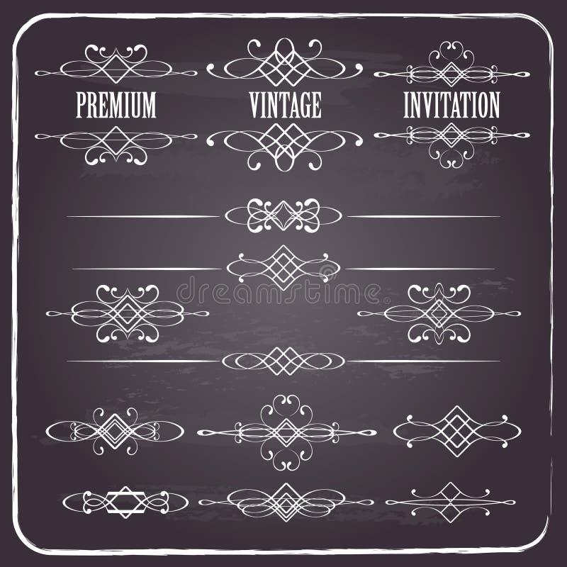 Ensemble d'éléments calligraphique de conception sur le tableau illustration de vecteur