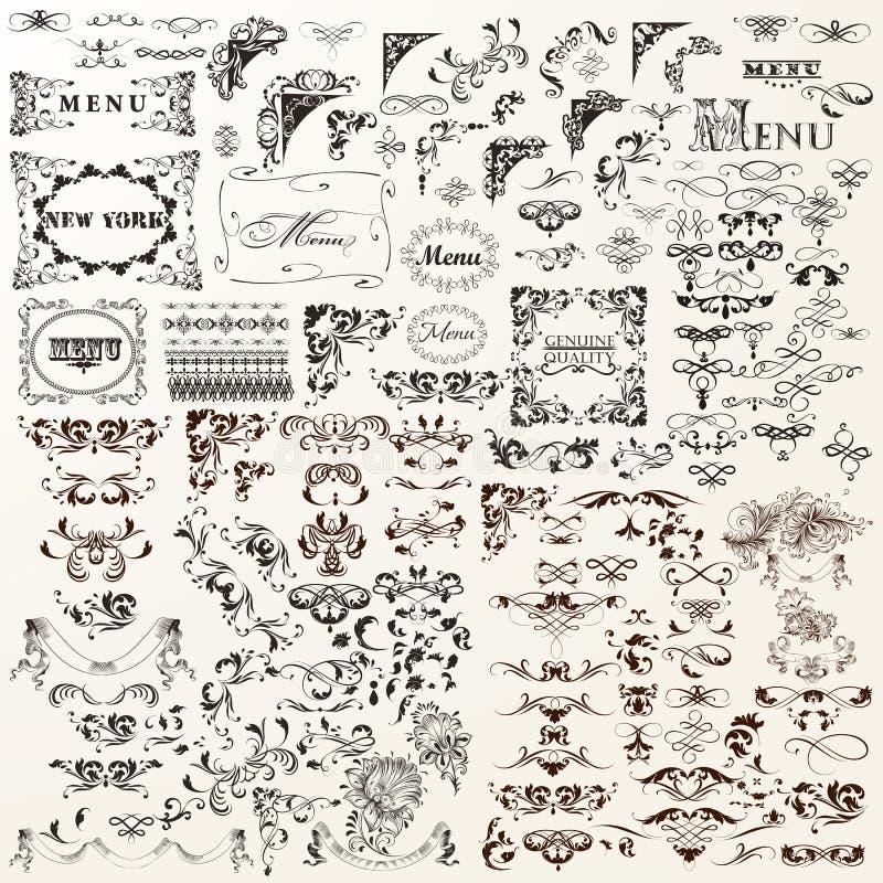 Ensemble d'éléments décoratif de vecteur Flourishes, remous, cadres illustration libre de droits