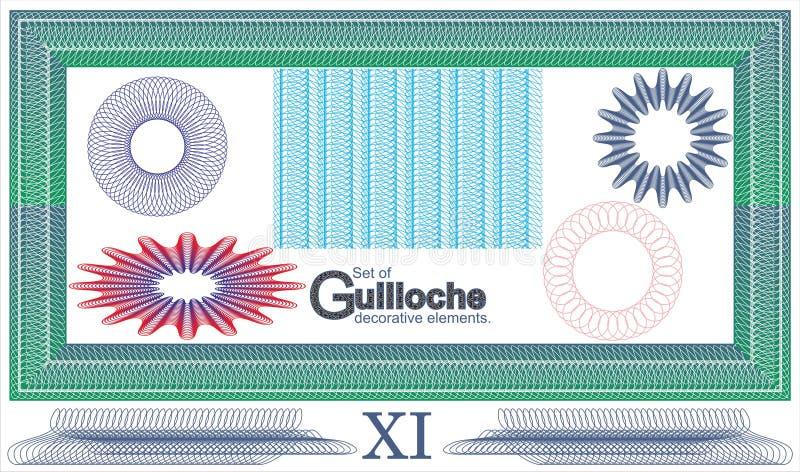 Ensemble d'éléments décoratifs de guilloche illustration de vecteur