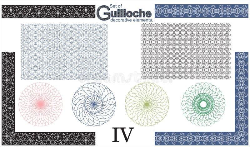 Ensemble d'éléments décoratifs de guilloche illustration stock