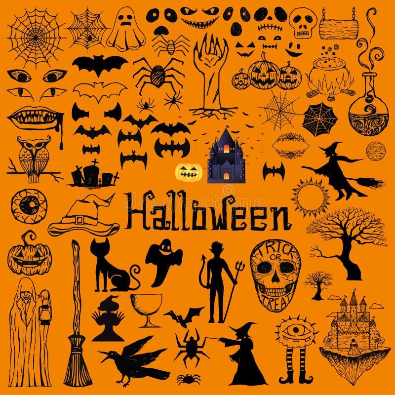 Ensemble d'éléments décoratifs de Halloween Graphismes tirés par la main illustration libre de droits