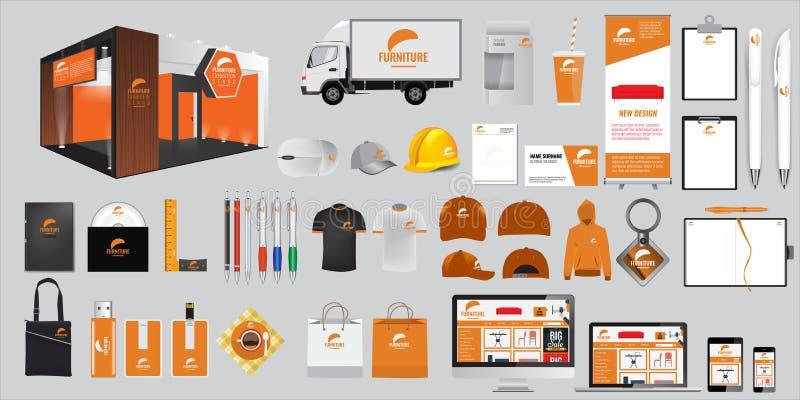 Ensemble d'éléments d'identité d'entreprise et de papeterie Objets promotionnels de vecteur illustration stock