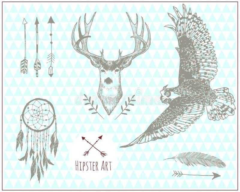 Ensemble d'éléments d'illustration de vintage de hippie illustration de vecteur