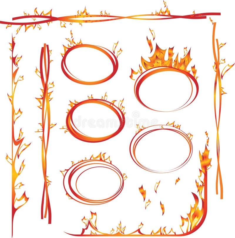 Ensemble d'éléments d'incendie illustration stock