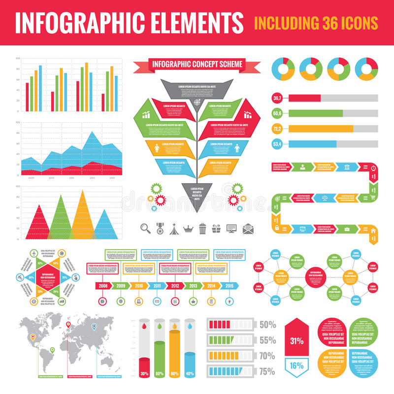 Ensemble d'éléments d'Infographic (36 icônes y compris) - dirigez l'illustration de concept illustration stock