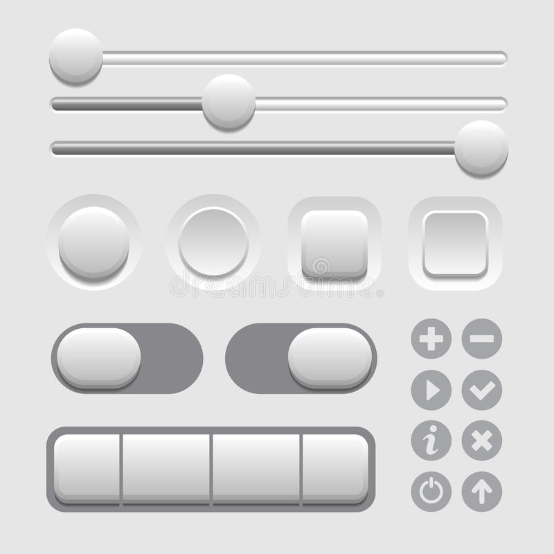Ensemble d'éléments d'interface utilisateurs sur le fond clair. Vecteur illustration de vecteur