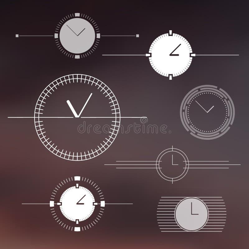 Ensemble d'éléments d'isolement de conception de montre illustration de vecteur