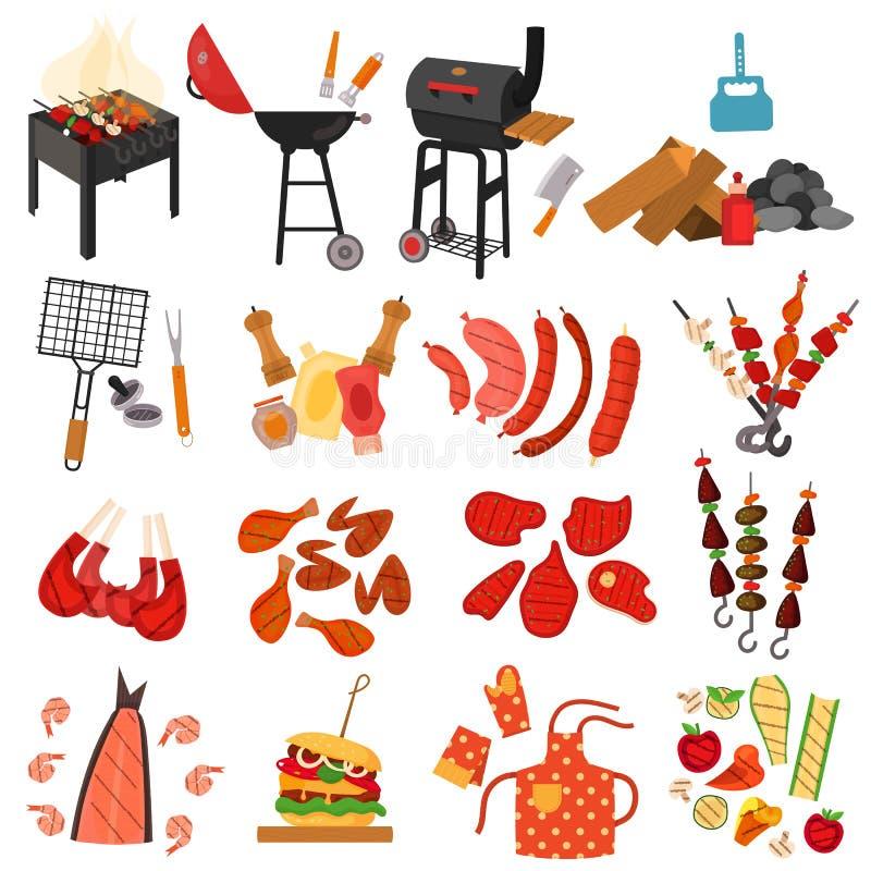 Ensemble d'éléments de bande dessinée de gril de barbecue illustration stock