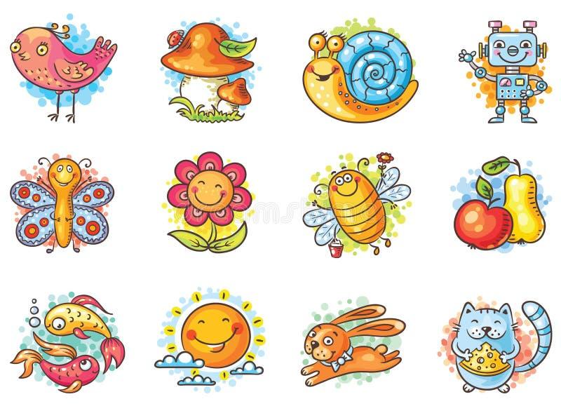 Ensemble d'éléments de bande dessinée pour des conceptions d'enfants illustration libre de droits