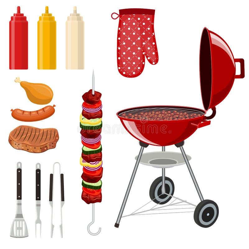 Ensemble d'éléments de barbecue de BBQ illustration stock