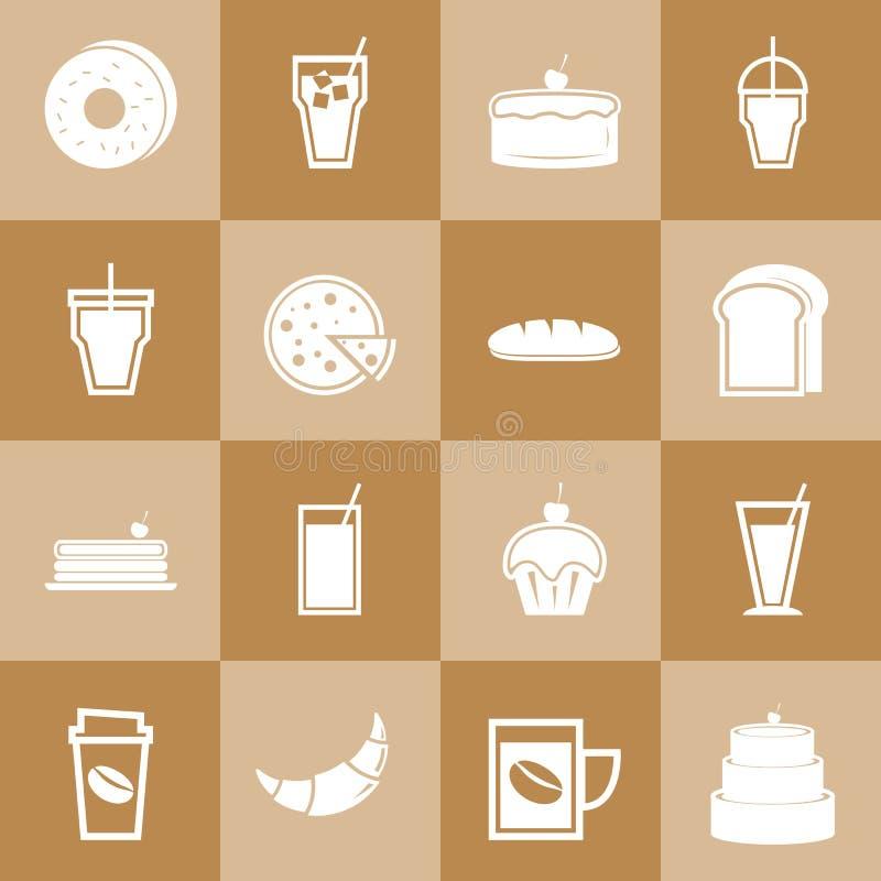 Ensemble d'éléments de boulangerie et de boissons pour le café illustration stock