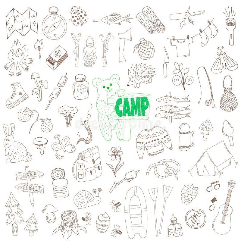 Ensemble d'éléments de camping de griffonnage de vecteur illustration libre de droits