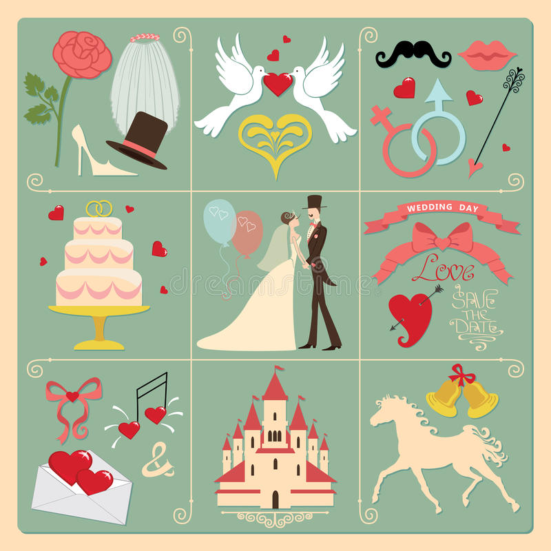 Ensemble d'éléments de conception d'invitation de mariage, icônes. Vintage illustration libre de droits