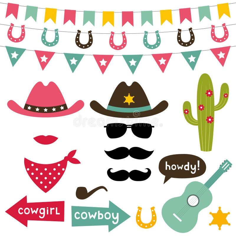 Ensemble d'éléments de conception de cowboy illustration de vecteur