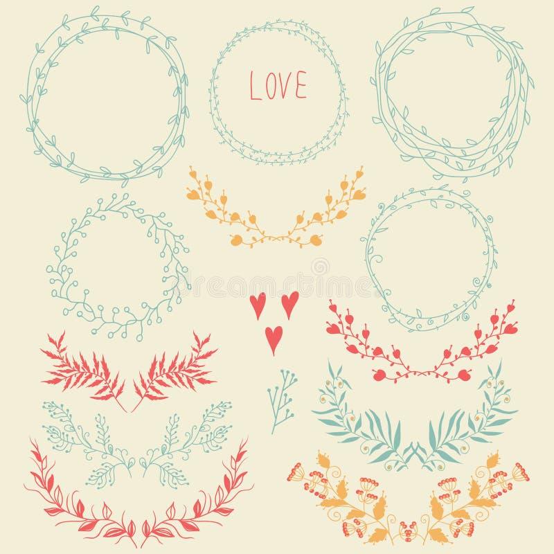 Ensemble d'éléments de conception florale illustration libre de droits