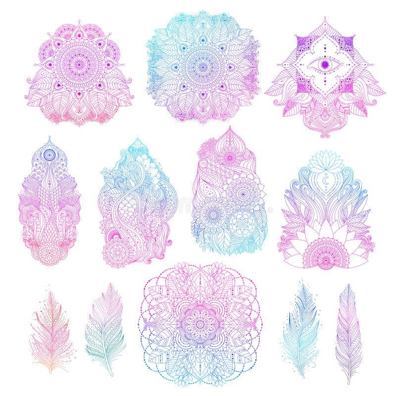 Ensemble d'éléments de conception florale de boho illustration libre de droits