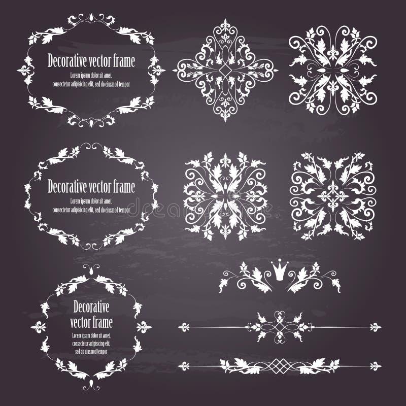 Ensemble d'éléments de conception florale d'objets et cadres et diviseurs dans le blanc illustration de vecteur