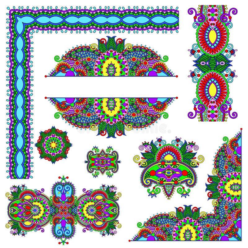 Ensemble d'éléments de conception florale de Paisley pour la page illustration de vecteur