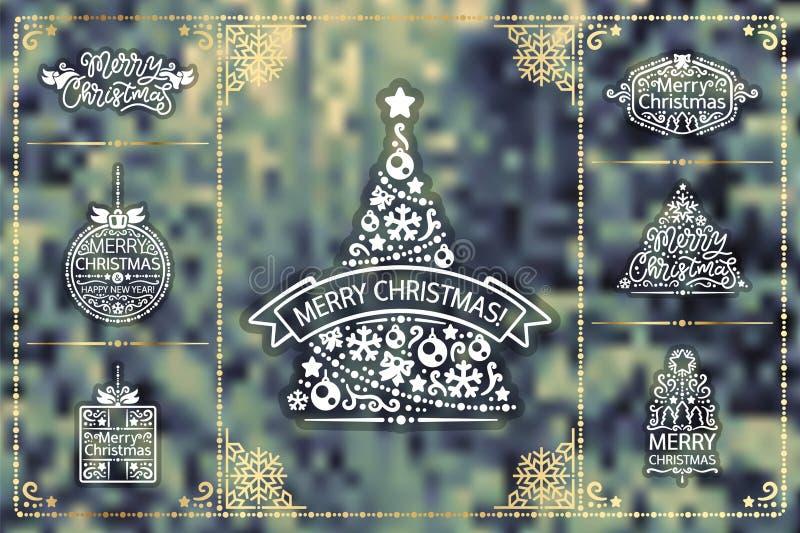 Ensemble d'or d'éléments de conception de Noël d'hiver illustration stock