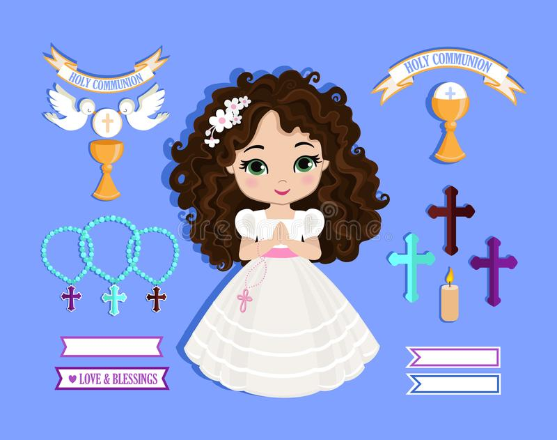 Ensemble d'éléments de conception pour la première communion pour des filles illustration stock
