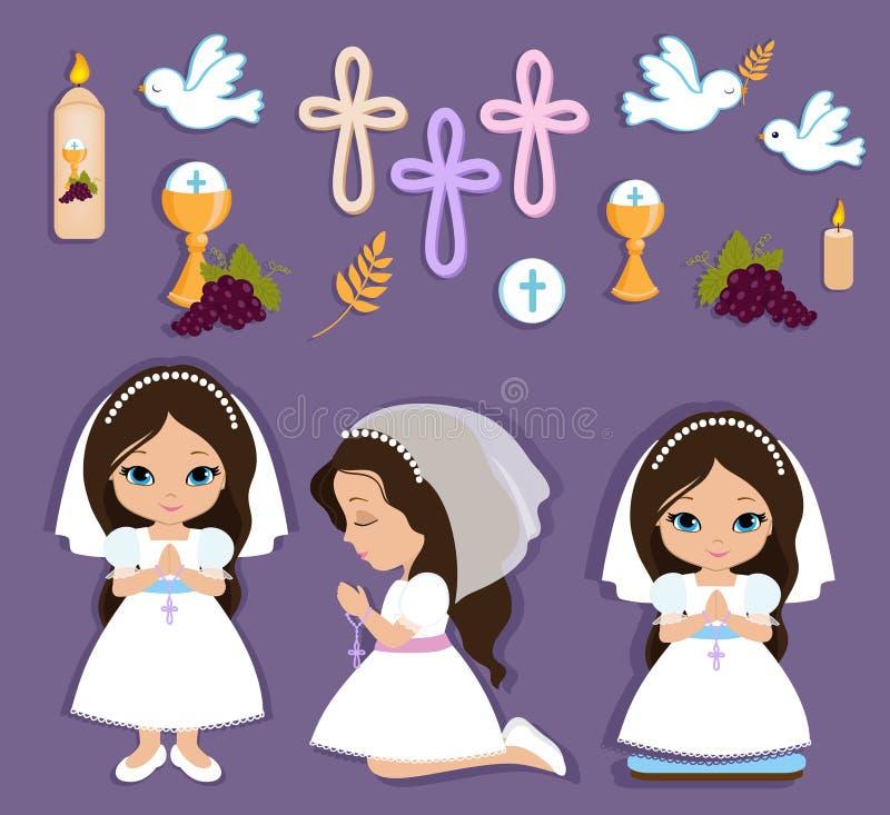 Ensemble d'éléments de conception pour la première communion pour des filles illustration de vecteur