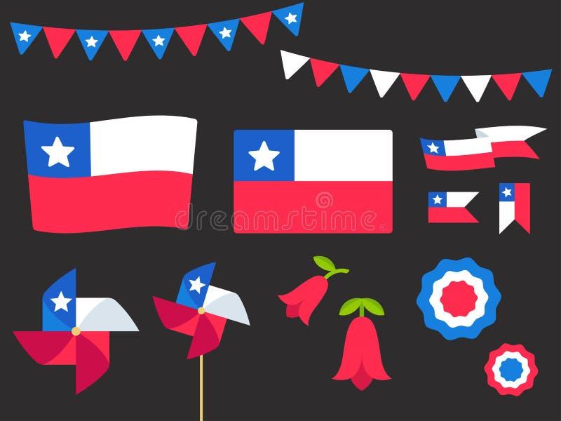 Ensemble d'éléments de conception de vecteur du Chili illustration libre de droits