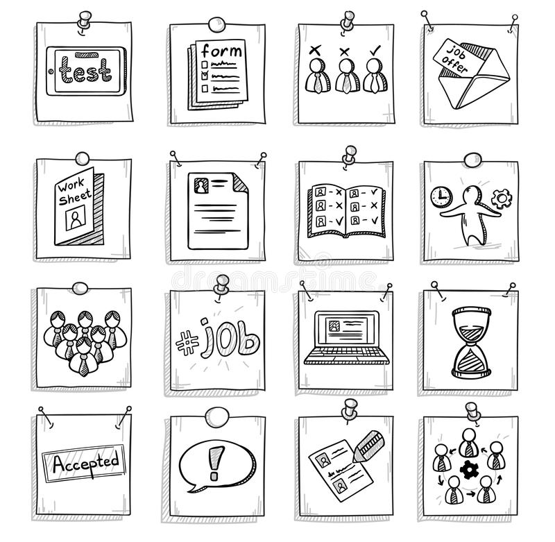 Ensemble d'éléments de développement de la vie professionnelle d'affaires de griffonnage illustration de vecteur