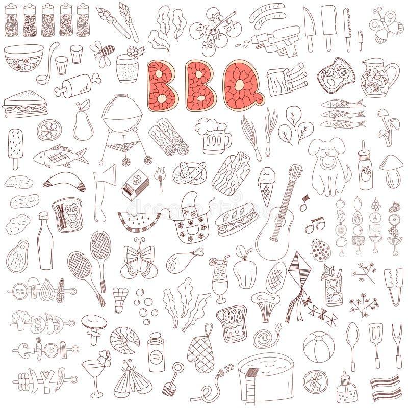 Ensemble d'éléments de griffonnage de partie de barbecue illustration libre de droits