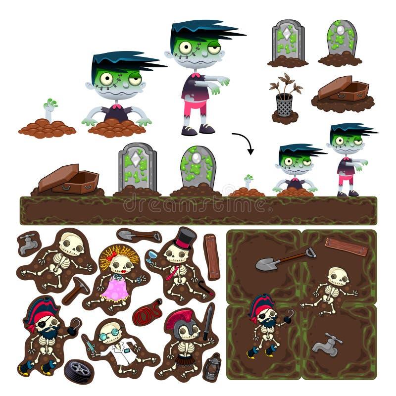 Ensemble d'éléments de jeu avec le caractère de zombi. illustration de vecteur