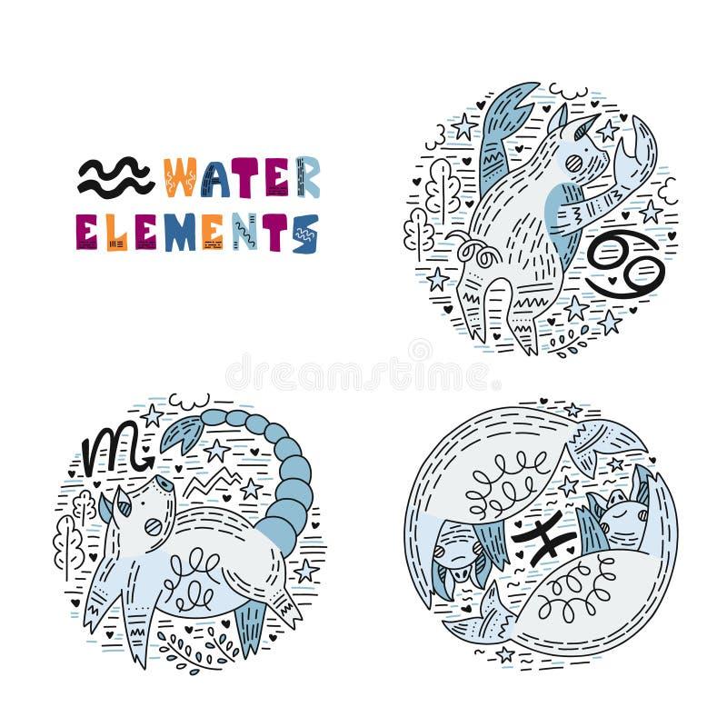 Ensemble d'éléments de l'eau de zodiaque illustration libre de droits