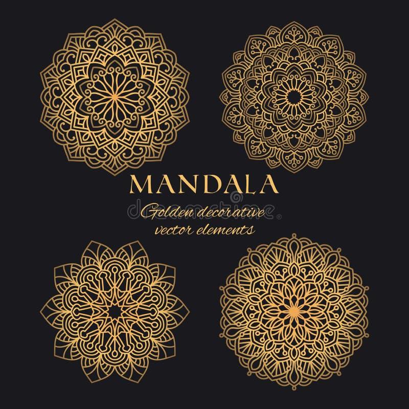 Ensemble d'éléments de logo de vecteur de mandala Collection de conception de luxe d'ornements ethniques illustration de vecteur
