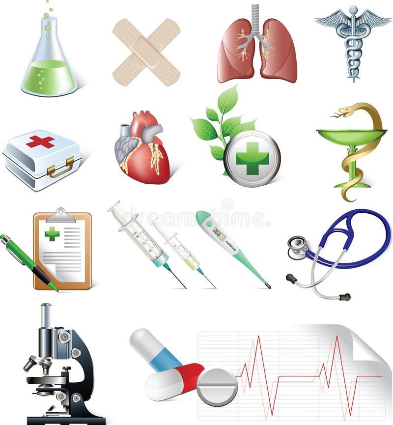 Ensemble d'éléments de médecine. illustration de vecteur